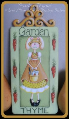 Garden sign Spring Summer Bunny pattern by LorriAllisenDesigns