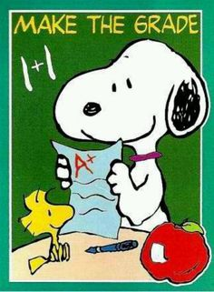 Make The Grade -  Snoopy and Woodstock In School    YAY, BACK TO SCHOOL!!!  BASEBALL!!!!!!!!!!!!!!!!!!