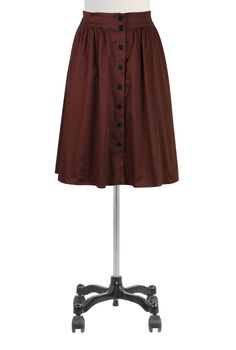 Button front stretch skirt