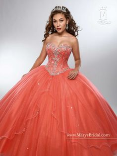 Timeless and beautiful, you'll love wearing Mary's Bridal Beloving Collection Quinceanera Dress Style 4688 at your Sweet 15 party or at any formal event. Strapless shimmering tulle quinceanera ball go