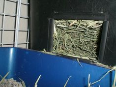 Make a rabbit hay box out of a trash bin! Cut a hole in the side, put some rocks at the bottom so bun can't tip it over, and fill it with hay! Pic shows fancy plexiglass edging hot glued in place to deter chewing :)