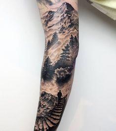"245 Likes, 2 Comments - HIPNER (@hipner.magdalena) on Instagram: ""nie umiem robić zdjęć. #sleeve #inprogress #mountains #forest #tattoo #view #dotwork #dotshading…"""