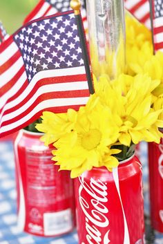 Coke Cans + Flowers + Flags = Patriotic Centerpiece