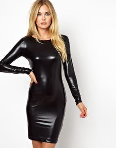 AQ AQ Tina Bodycon Dress In Metallic Foil: Made from an easy-care poly-blend fabric Metallic-foil finish Round neckline Full-length sleeves Mini length Body-Conscious fit