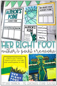 "Looking for engaging activities for kids to practice author's point and reasons? You can make teaching these literacy skills engaging and fun using ""Her Right Foot"" and these hands on activities, anchor charts, graphic organizers, and digital lessons. Click the pin to see ALL the fun included! Mentor Sentences, Dave Eggers, Interactive Read Aloud, Learning Targets, Powerpoint Lesson, Success Criteria, Vocabulary Cards, Listening Skills, Literacy Skills"