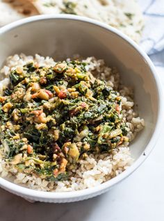 Spinach Masala with Organic Brown Rice and Naan Bread | Lemons and Basil