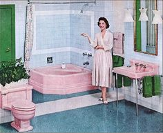 retro pink and green bathroom - Had to repin this because I have a pink and green bathroom in my house. . ..but not for long. . .the 1957 bathroom is finally about to be renovated!