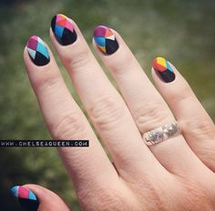 Colorful geometric nails by Chelsea King