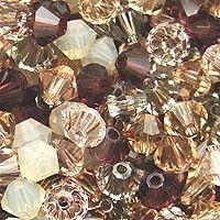 Swarovski Crystal, 4mm Bicone, Modern Vintage Mix