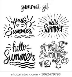 Find Set Hello Summer Typographic Inscription Vintage stock images in HD and millions of other royalty-free stock photos, illustrations and vectors in the Shutterstock collection. Summer Calligraphy, Summer Banner, Handwritten Letters, Hello Summer, Aesthetic Backgrounds, Flyers, Animals Beautiful, Royalty Free Stock Photos, Scrapbooking