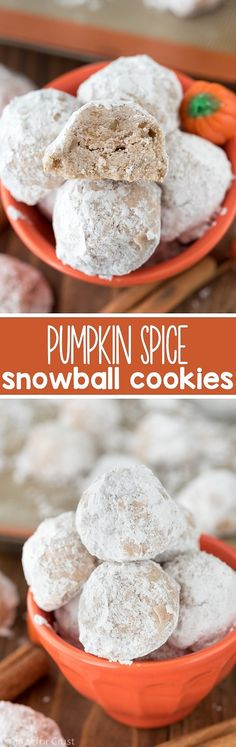 Snowballs, Russian teacakes, wedding cookies, whatever you call them, I love them. Cake batter, chocolate, stuffed, chocolate chip, you name it and there's a way! For Fall, why not go with pumpkin spice?