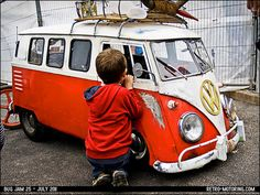 Cute kid's VW Camper Van pedal car. I would so ride in this to the ice cream store!!!!