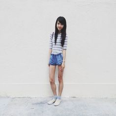 Get this look: http://lb.nu/look/7004798  More looks by CHARMAINE NG: http://lb.nu/charmainenyw  Items in this look:  Forever 21 Kids Striped Tshirt, Forever 21 Kids Denim Shorts, H&M Canvas Sneakers   #forever21 #hm #muji #converse #uniqlo #shorts #highwaist #highwaisted #highwaistshorts