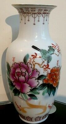 Chinese Baluster Famille Rose Porcelain Hand Painted Signed Art Vase Bird Flower  | eBay