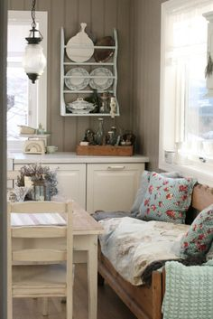 Love the shabby chic feel. I think the bench idea is brilliant. That would be awesome for visitors or for the cook company in the kitchen.