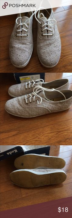 Keds champion eyelet grey sneakers Keds champion eyelet grey sneakers. Worn 5 times. Only wear on bottom of soles. Original paper inside shoes with box. Smoke and pet free home. Keds Shoes Athletic Shoes