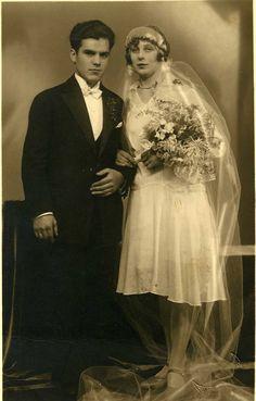 Vintage Bride and Groom Photo circa 1930