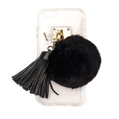 ashlyn'd Transparent iPhone 6 Case w/ Fur Pompom ($64) ❤ liked on Polyvore featuring accessories, tech accessories and black