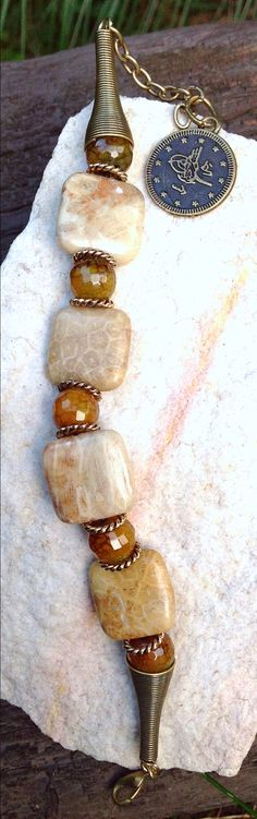 interesting design, chunky bracelet Fossil jasper and agate bracelet