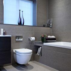 Bathroom Renovation Ideas: bathroom remodel cost, bathroom ideas for small bathrooms, small bathroom design ideas Grey Bathroom Tiles, Gray Bathroom Decor, Family Bathroom, Bathroom Layout, Modern Bathroom Design, Bathroom Interior Design, Interior Ideas, Grey Tiles, Bath Design