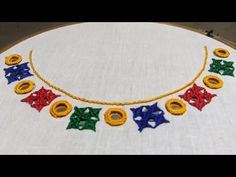 Handmade Embroidery Designs, Embroidery Neck Designs, Hand Embroidery Videos, Hand Embroidery Tutorial, Hand Work Embroidery, Embroidery Flowers Pattern, Simple Embroidery, Embroidery On Kurtis, Kurti Embroidery Design