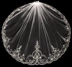 Stunning Beaded Embroidery Fingertip Length Wedding Veil - Affordable Elegance Bridal -