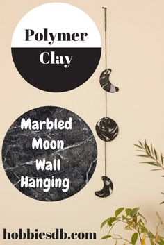 Polymer clay marbled moon wall hanging