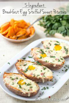 Breakfast Egg Stuffed Sweet Potatoes | Roxy's Kitchen A super filling five-ingredient breakfast loaded with vitamins & nutrients.