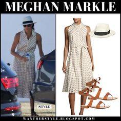Meghan Markle in beige gingham sleeveless dress #royalfamily #royals #duchess #summer #style #fashion #shirtdress #shoshanna #vacation #outfit