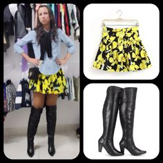 Yellow skirt and over knee boots