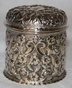 Antique Repousse Sterling Silver Canister by George Nathan, Ridley Hayes Chester