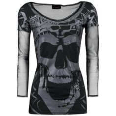 Queen Of Darkness ❤ liked on Polyvore featuring tops, shirts, skull print shirt, dark shirt, shirt top, skull top and skull shirts