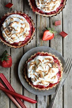 Strawberry Rhubarb Meringue Tartlets by Completely Delicious