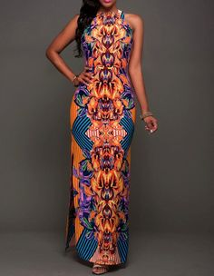 Yellow Blue African Tribal Floral Printed Side Slit Maxi Dress                                                                                                                                                                                 Mais