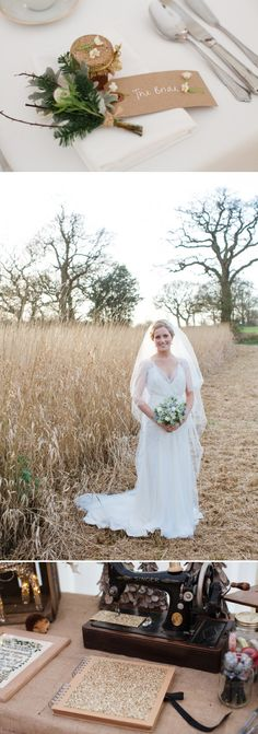 A Warm Winter Glamorous Rustic Wedding With A Jenny Packham Dress And Blue Toned Bouquet With Photography By Lucy Davenport. 0008