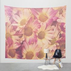 pink yellow daisy wall tapestry