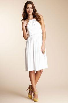Halston Heritage Shirred Halter Dress