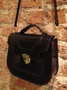 HANSON OF LONDON KING'S HEAD personalised handbag in black English bridle leather ready for a treasured customer x