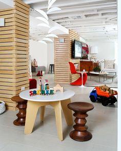 Scandinavian basement remodel, kid friendly area, by Wentworth, Inc.