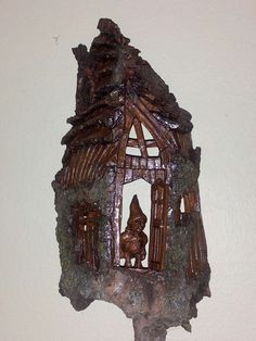 Cottonwood gnome house woodcarving