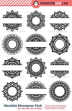 SVG Mandala Pack Svg Monogram svg and Split Mandala Cut Files for Cricut and Silhouette Manda. - SVG Mandala Pack Svg Monogram svg and Split Mandala Cut Files for Cricut and Silhouette Mandala – - Mandala Art Lesson, Mandala Artwork, Mandala Drawing, Mandala Doodle, Half Mandala Tattoo, Henna Designs, Svg Cuts, Icon Set, Doodle Art