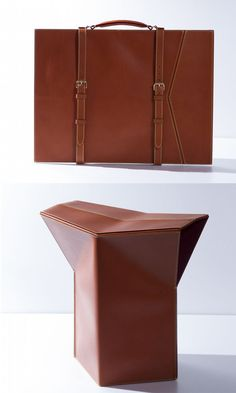 Leather folio folds into a stool //