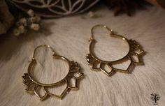 Röötz - Large Tribal earrings, Lotus brass hoop earrings, Brass hoop earrings, lotus earrings, floral earrings, big hoops, tribal jewelry