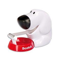 SCOTCH Dévidoir forme chien avec rouleau adhésif Magic 19mmx7,5m. Livré en boite transparente