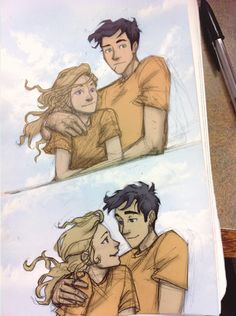 You guys don't know how much I love this. They're all cute on the Argo II (at least I think they're there), and then Percy pulls Annabeth, and she smiles at him. And his face on the second image is so cute. <3