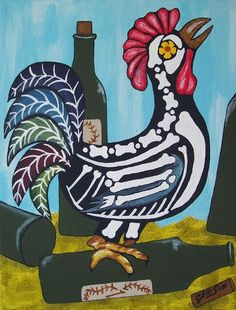 day of the dead folk art chickens - Google Search