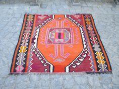 "Etsy $312 53"" x 50"" Vintage Handmade Konya Kilim Rug Traditional Rug Home Decor"