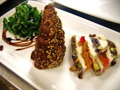 Terrine of 'gorgonzola', pistachios and 'mustard' of fruit with savory croissant