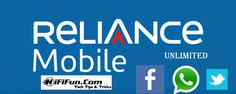 #Reliance Unlimited #Facebook, Unlimited #WhatsApp  and Unlimited #Twitter Plans Details.
