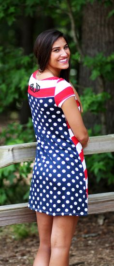 Monogrammed Patriotic Dress from Marleylilly.com. Perfect for July 4th! #AMERICAN #USA